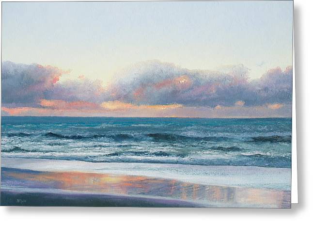 Beach Cottage Style Greeting Cards - Ocean painting - Days End Greeting Card by Jan Matson