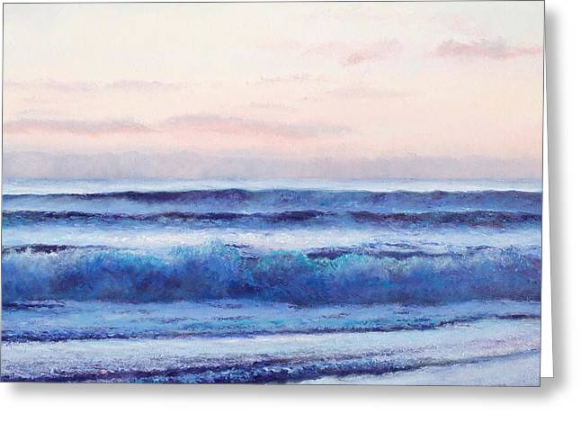 Ocean Painting 'dusk' By Jan Matson Greeting Card by Jan Matson