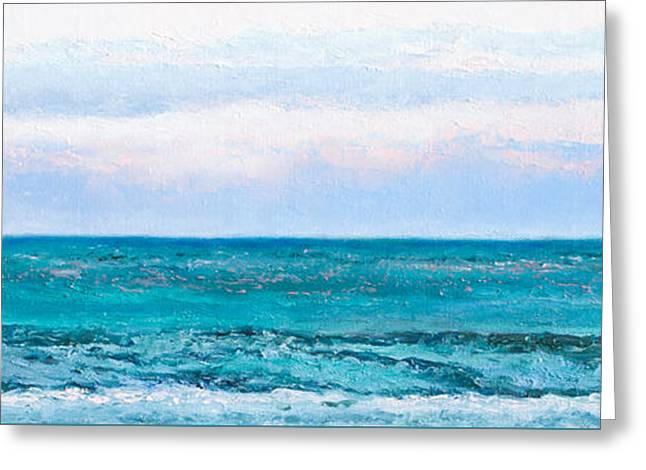 Beach Cottage Style Greeting Cards - Ocean Painting - Emerald Green Greeting Card by Jan Matson