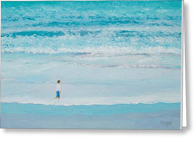 Beach Art Greeting Cards - Ocean painting - Summers End Greeting Card by Jan Matson