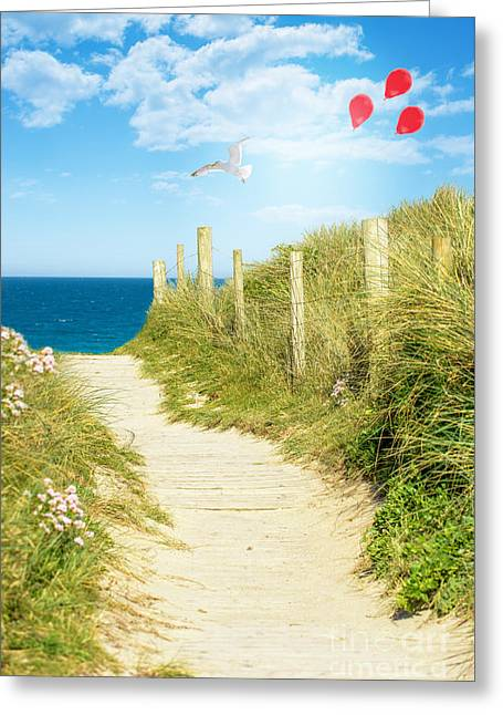 Balloon Greeting Cards - Ocean Path In Cornwall Greeting Card by Amanda And Christopher Elwell