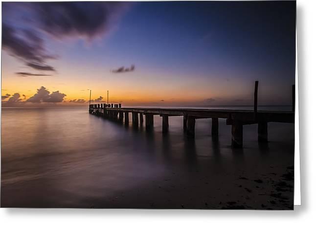 Ocean Pier At Dusk  Greeting Card by Sven Brogren