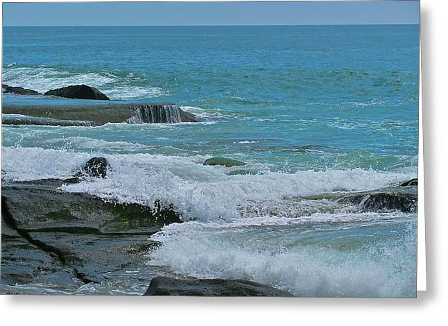 Cliffs Over Ocean Greeting Cards - Ocean Roll Greeting Card by Debra     Vatalaro