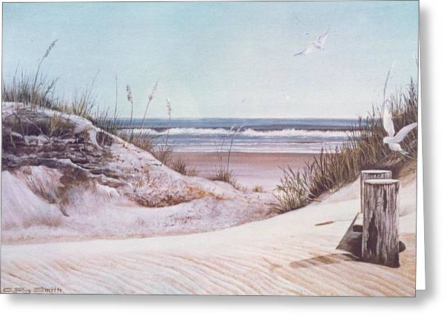 Sand Dunes Paintings Greeting Cards - Ocean Sands Greeting Card by Charles Roy Smith