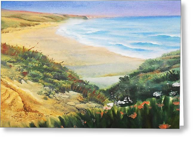 Ocean Shore And Sand Dunes  Greeting Card by Irina Sztukowski