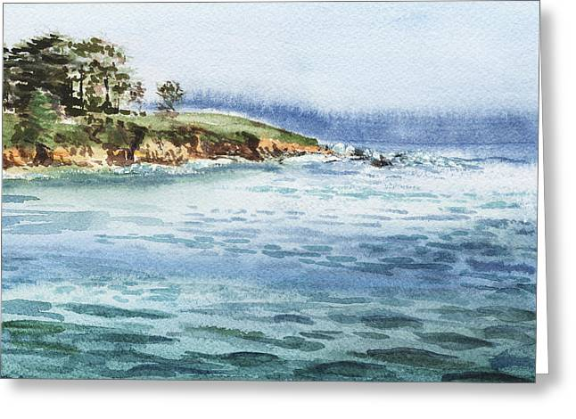 California Beach Art Greeting Cards - Ocean Shore Greeting Card by Irina Sztukowski