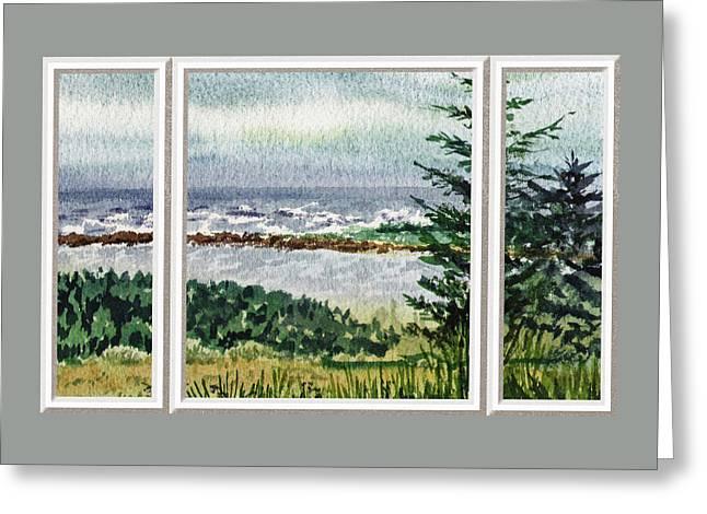 Beach Theme Decorating Greeting Cards - Ocean Shore Window View Greeting Card by Irina Sztukowski