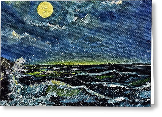Sea Moon Full Moon Greeting Cards - Ocean Spray Moon Greeting Card by Renita Confer