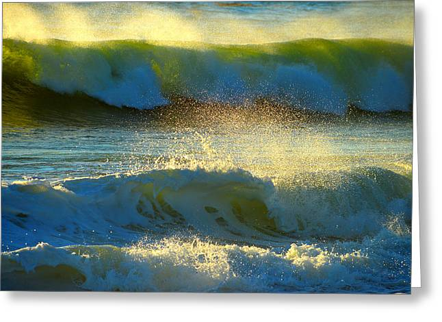 New England Ocean Greeting Cards - Ocean Spray Sunrise Greeting Card by Dianne Cowen