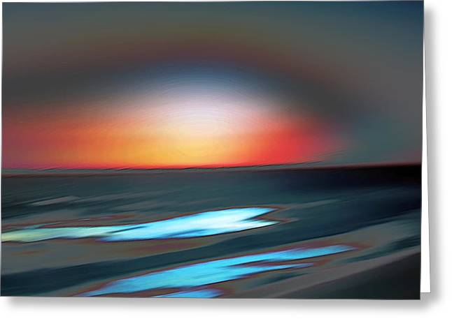 Wind Surfing Art Greeting Cards - Ocean Sunset Greeting Card by Lana Art