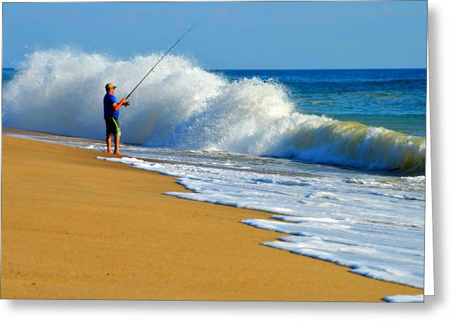 Aquatic Greeting Cards - Ocean Surf Casting  Greeting Card by Dianne Cowen
