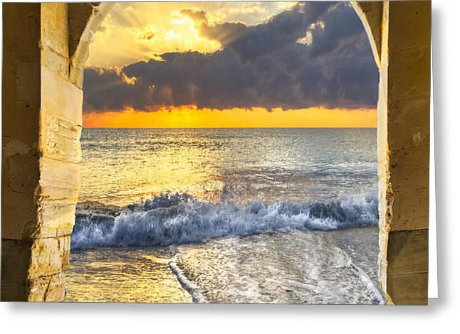 Ocean View Greeting Card by Debra and Dave Vanderlaan