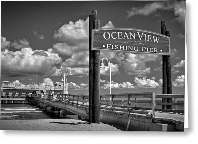 Oceanview Greeting Cards - Ocean View Fishing Pier Greeting Card by Williams-Cairns Photography LLC