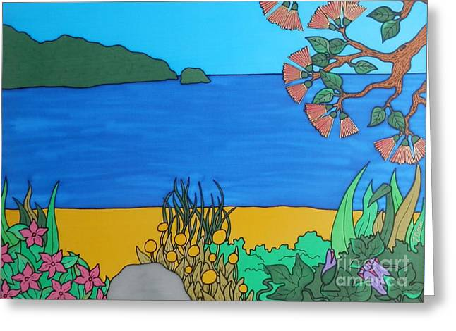 Island Tapestries - Textiles Greeting Cards - Ocean View Greeting Card by Joanne  Oram