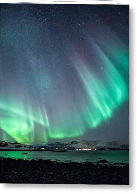 Northern Lights Greeting Cards - Ocean view Greeting Card by Tor-Ivar Naess