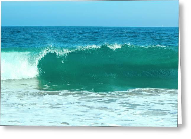 California Beach Pyrography Greeting Cards - Ocean Wave Greeting Card by Habib Ayat