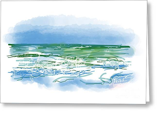 Atlantic Beaches Drawings Greeting Cards - Ocean Waves Greeting Card by Robert Yaeger