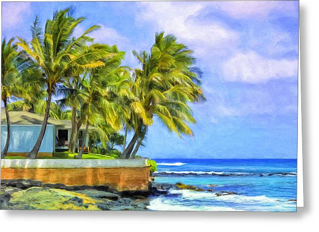 Lahaina Greeting Cards - Oceanfront Hale Greeting Card by Dominic Piperata