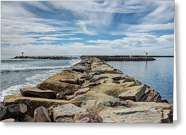 Oceanside Jetty Greeting Card by Ann Patterson