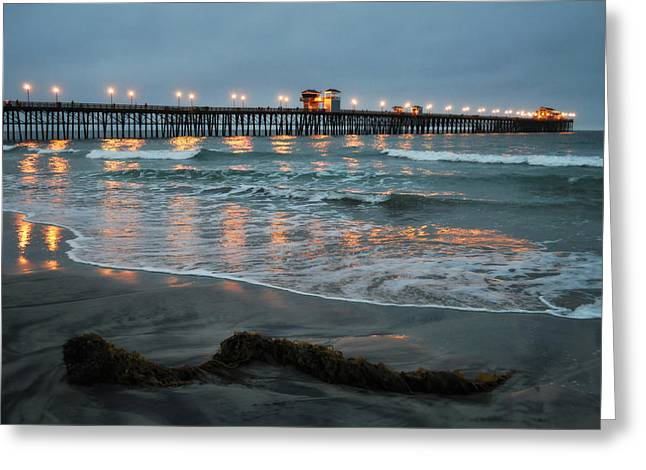 Coast Highway One Greeting Cards - Oceanside Pier Glow Greeting Card by Kyle Hanson