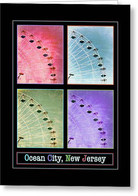 Amusements Greeting Cards - Ocean City Wonder Wheel Poster I Greeting Card by Marianne Campolongo