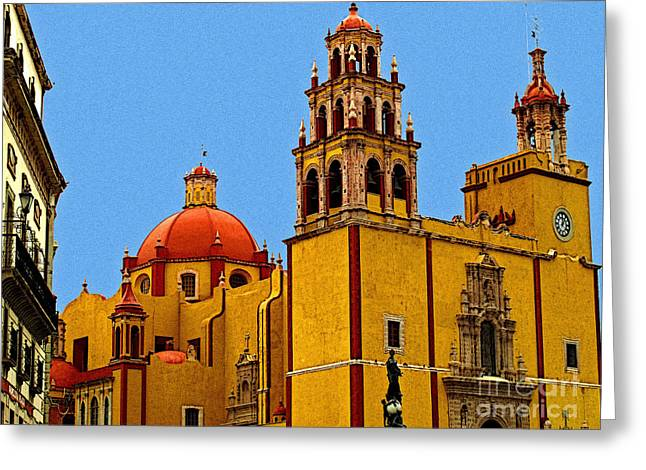Ochre Cathedral Greeting Card by Olden Mexico