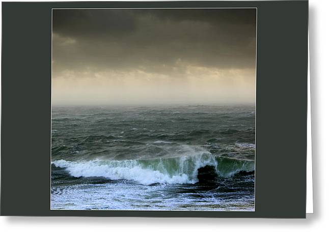 Turbulent Skies Greeting Cards - Ochre skies and green seas Greeting Card by Paul Davenport