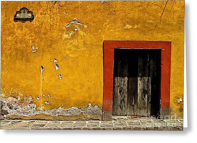 Portal Greeting Cards - Ochre Wall with Red Door Greeting Card by Olden Mexico