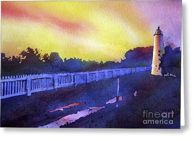 North Carolina Wall Art Greeting Cards - Ocracoke Lighthouse- North Carolina Greeting Card by Ryan Fox