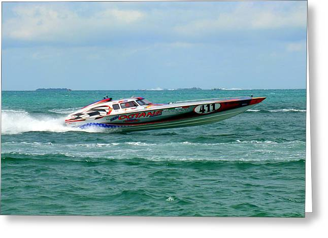 Speed Boat Greeting Cards - Octane Greeting Card by Karen Wiles