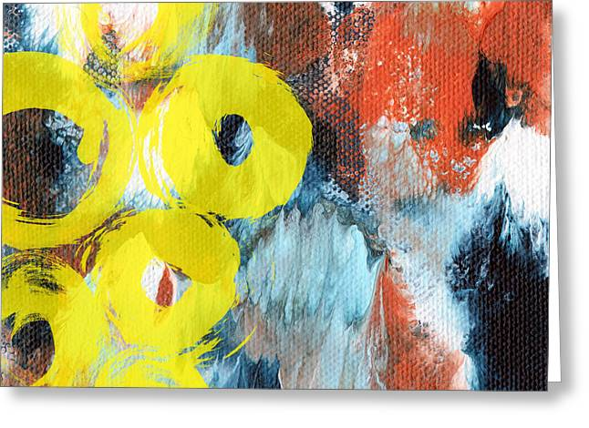 Texture Mixed Media Greeting Cards - October- Abstract art by Linda Woods Greeting Card by Linda Woods