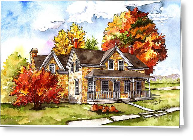 Fall Trees Greeting Cards - October At The Farm Greeting Card by Shelley Wallace Ylst