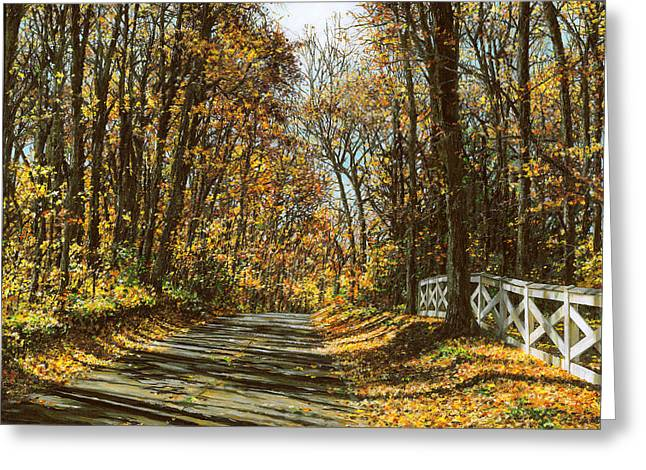 Fall Trees Greeting Cards - October Backroad Greeting Card by Doug Kreuger