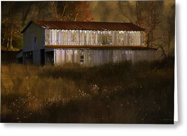 October Barn Greeting Card by Ron Jones