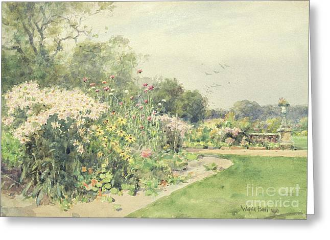 Park Scene Greeting Cards - October Flowers Greeting Card by Wilfred Williams Ball