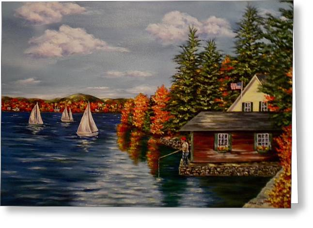 Sailboat Art Greeting Cards - October in New England Greeting Card by Jan Law