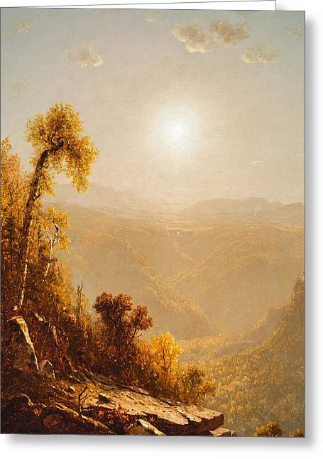 Upstate Paintings Greeting Cards - October in the Catskills Greeting Card by Sanford Robinson Gifford