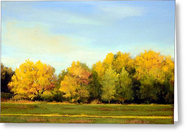 Fall Grass Pastels Greeting Cards - October Light Greeting Card by Xenia Sease