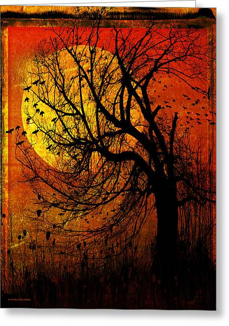 Ron Jones Greeting Cards - October Moon Greeting Card by Ron Jones