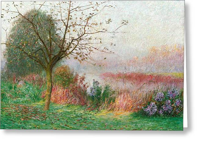 1924 Greeting Cards - October Morning on the River Lys Greeting Card by Emile Claus