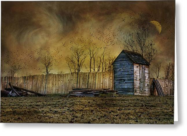 Outhouses Greeting Cards - October Outhouse Greeting Card by Robin-lee Vieira