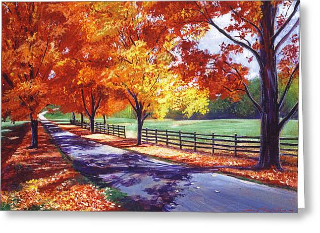 Fallen Leaf Paintings Greeting Cards - October Road Greeting Card by David Lloyd Glover