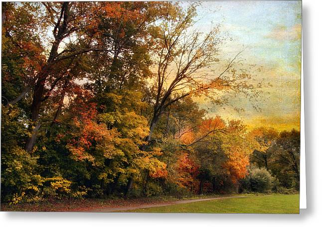 Autumn Landscape Digital Greeting Cards - October Trail Greeting Card by Jessica Jenney