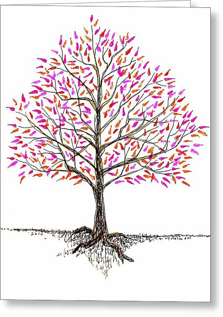 Norman Drawings Greeting Cards - October Tree Greeting Card by Tex Norman