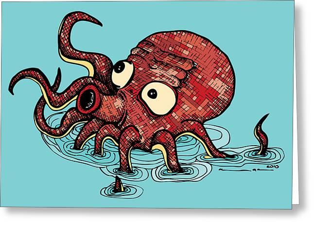 Drawings Greeting Cards - Octopus - Color Greeting Card by Karl Addison
