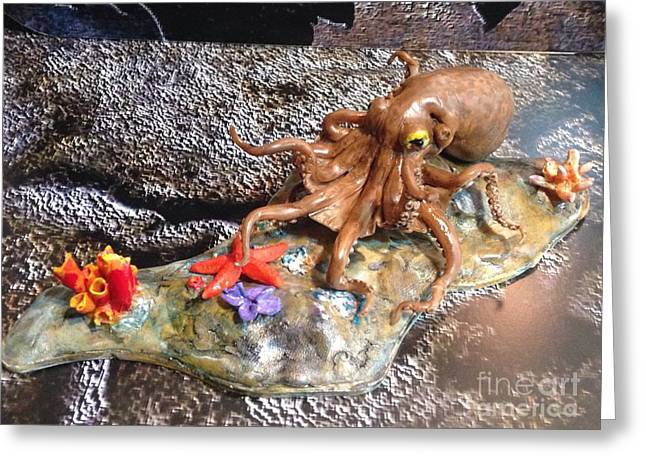 Coral Sculptures Greeting Cards - Octopus Greeting Card by Alexander Gatsaniouk