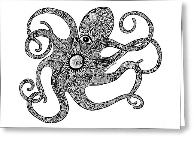 Tropical Beach Drawings Greeting Cards - Octopus Greeting Card by Carol Lynne