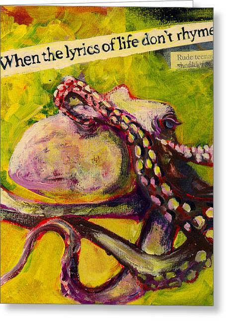 Sea Life Mixed Media Greeting Cards - Octopus Greeting Card by Tilly Strauss
