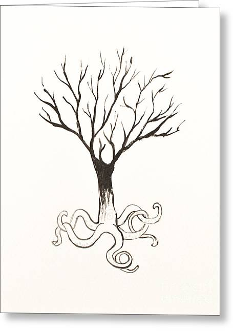 White Paintings Greeting Cards - Octopus Tree Greeting Card by Stefanie Forck