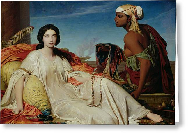 Harem Paintings Greeting Cards - Odalisque Greeting Card by Francois Leon Benouville